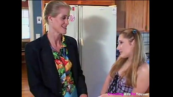 Housewife Seduce Sexy Teen in the Kitchen