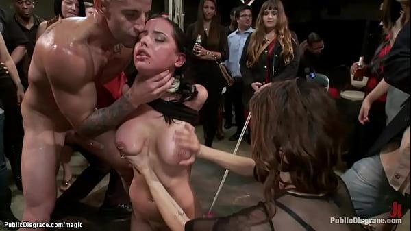 Slut takes cock and strapon in public