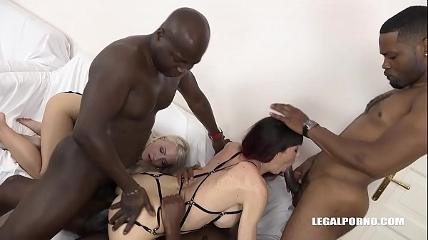 Interracial fuck loving Milfs Helena Moeller & Sofia Star do double anal