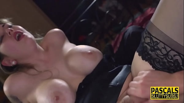 Submissive gets throated and fucked rough