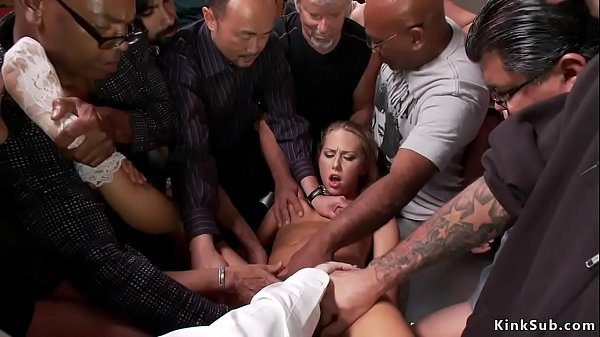 Blonde slut group fingered in public