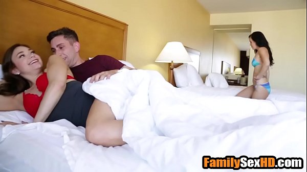 Step brother creampies sister after fucking her behind mom's back