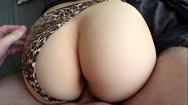 Homemade fuck with a girl through leopard panties with a big ass