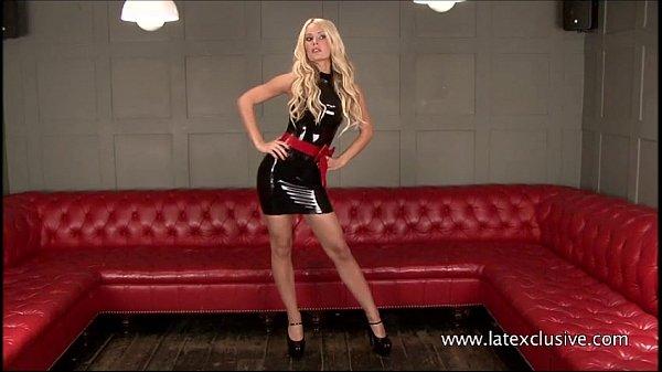 Sexy long legged blonde Alessandras latex fetish and bombshell beauty posing