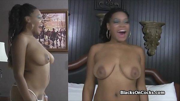 Interracial sex casting with curvy black amateur
