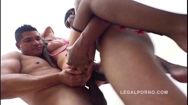 Interracial XXXtreme anal orgy with gangbang ba...