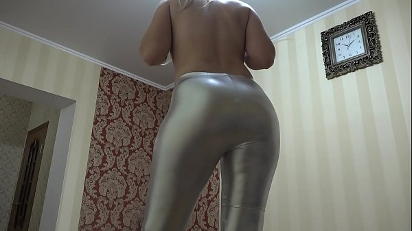 Anal masturbation and foot fetish. A blonde with long legs in shiny leggings seduces and then fucks her juicy PAWG with a dildo