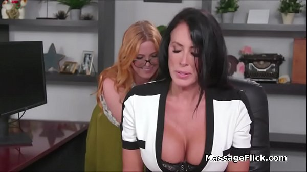 Office massage turns to wild fingering with big tit boss