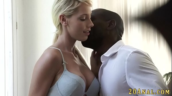 Babe gets interracial cum