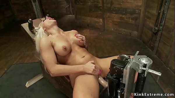 Busty solo blonde bangs machine in dungeon