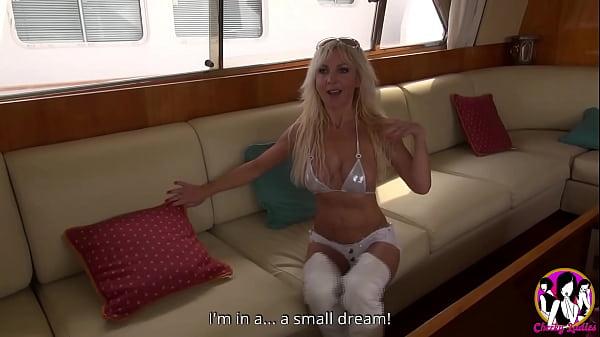 Sexy milf Thérèse having a great gang-bang on a boat