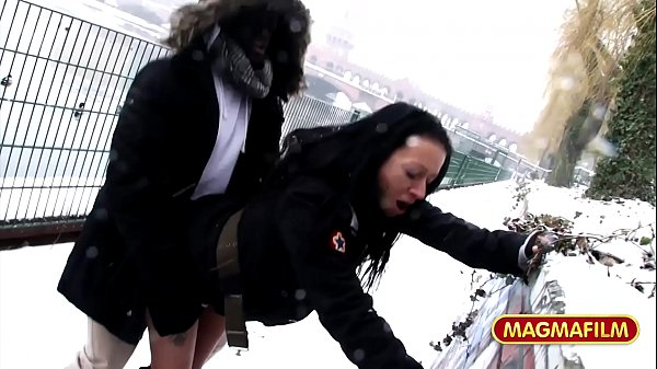 German Milf riding BBC in public in the snow of Berlin