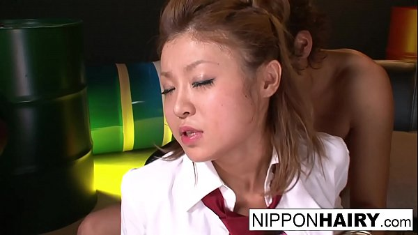 Asian schoolgirl gets her hairy pussy shaved