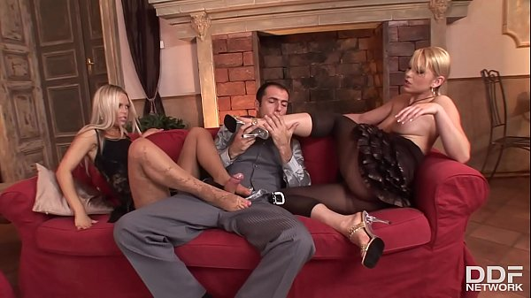 Niki Sand and Sabrina H. get their asses stuffed in foot fetish threesome