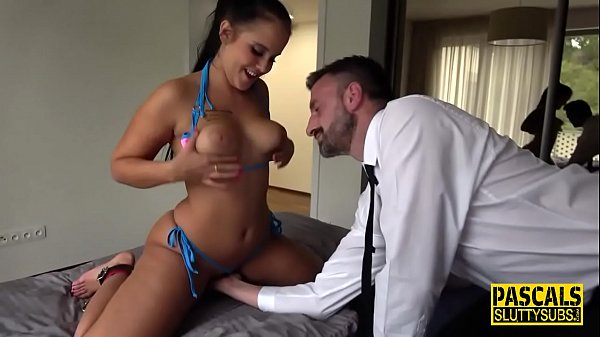 Spanked real sub squirts