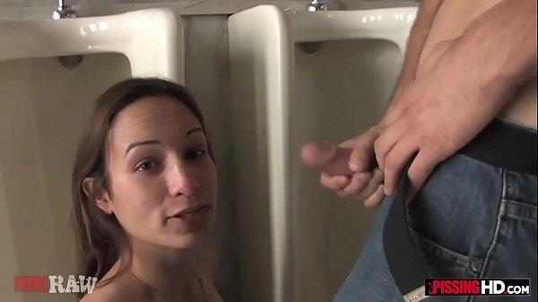 Skinny brunette Amber Rayne becomes a human urinal