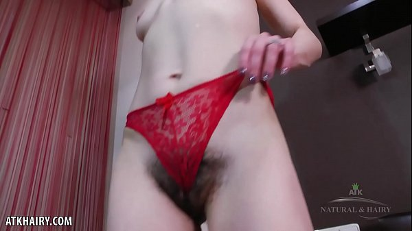 Skinny Liza James fingers her hairy twat for you