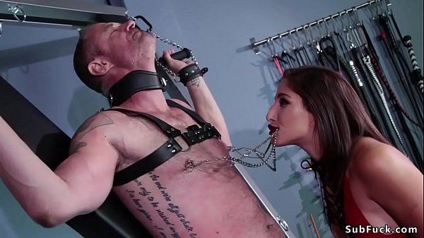 Dom with pink strap on cock bangs man