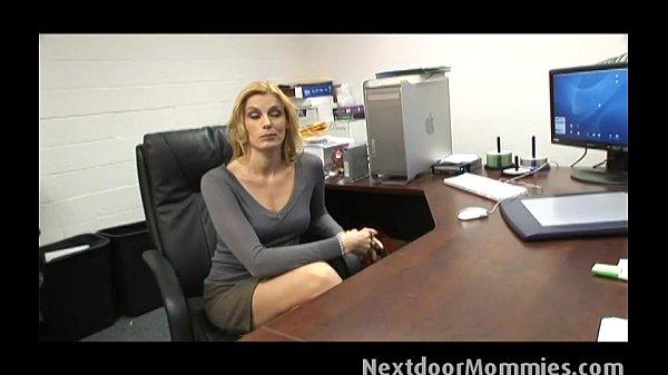 Cougar secretary swallows black cock cum Thumb