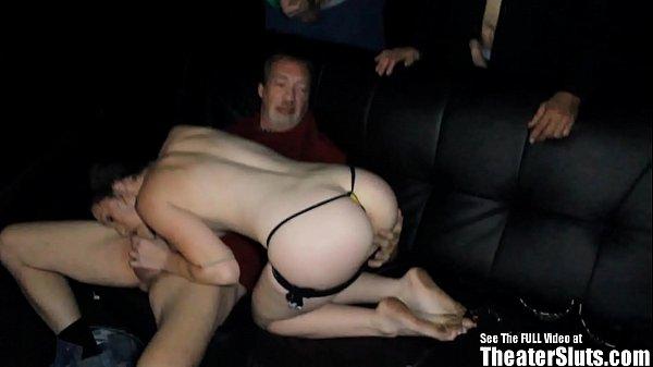 Freckle Hottie Milk Tits Gang Fuck Porno Theater