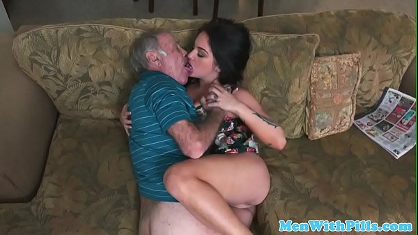 Pornstar Aria Rose rimming elderly mans ass