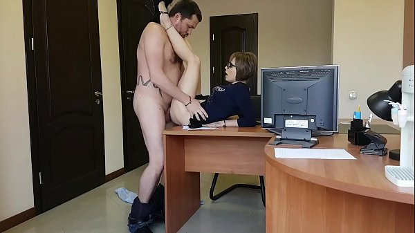 The boss fucks her young milf secretary on the office table