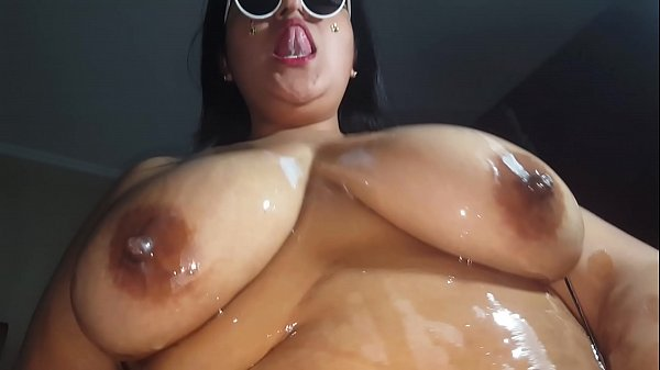 Milk and oil over my tits