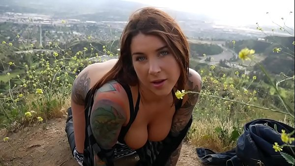 felicity feline anal butt plug and blow job outdoors