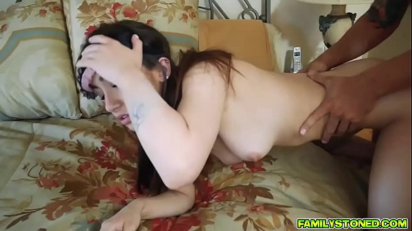 Lily Jordan blind folded and double team by two cocks