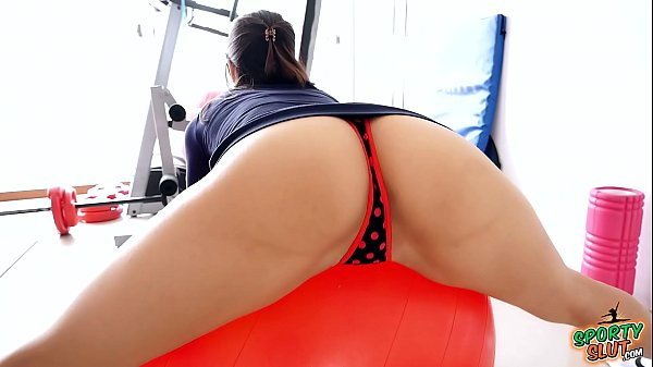 Amazing Body Brunette Exersicing on her Fitball