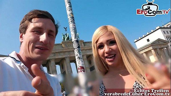 EroCom Date - Deutsche Blondine bei echtem Blinddate casting abgeschleppt und ohne gummi gefickt