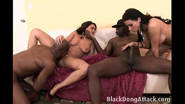 White girls enjoy two big black cock