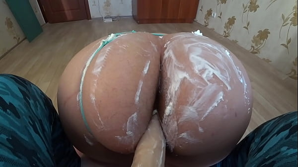 Hairy PAWG in cream shakes doggy style POV. Fat...
