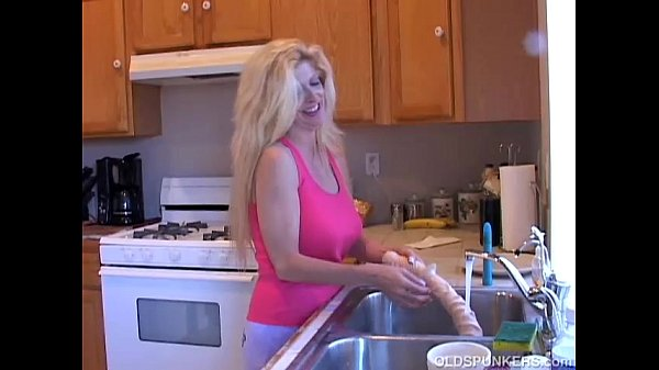 Busty old blonde spunker loves playing with her soaking wet pussy