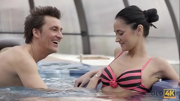 OLD4K. Older lover invites gentle girl to his house with jacuzzi