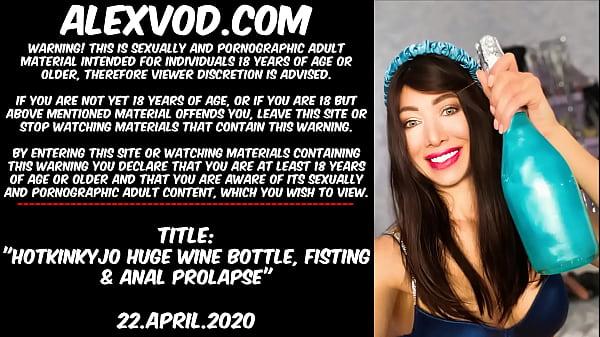 Hotkinkyjo Huge wine bottle, fisting & anal prolapse