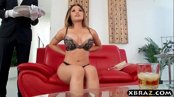 Asian housewife has her big dick butler fuck he...