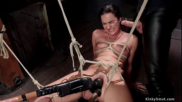 Brunette sub fucked in pussy and mouth