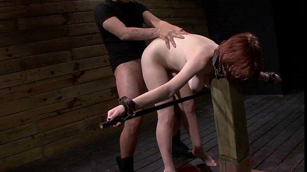 Bound redhead Velma DeArmond deep throat fucked