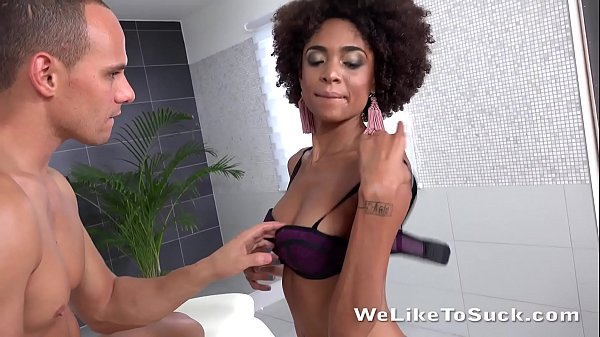 Blowjob fun for Brazilian masturbating her cum ...