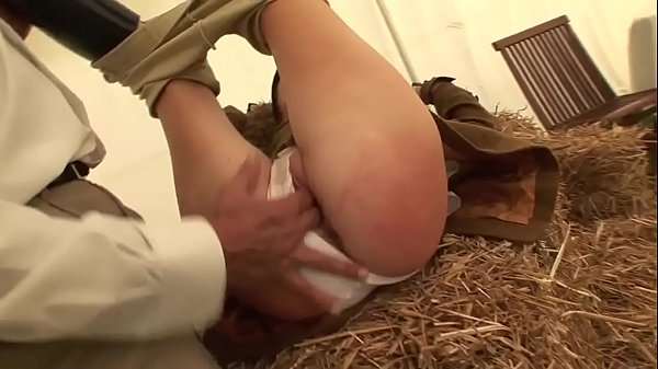 Caroline young prostitute gets ridden by a perverted old man on the hay Thumb