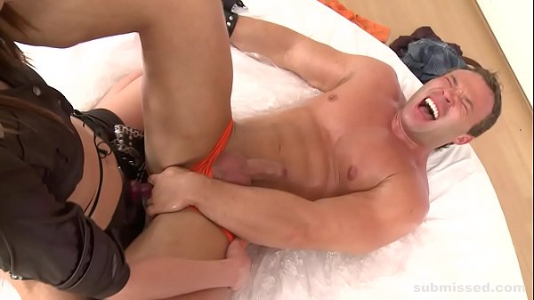 Hot guy gets submissed, footjob, assfucked and dominated by horny mistress Thumb