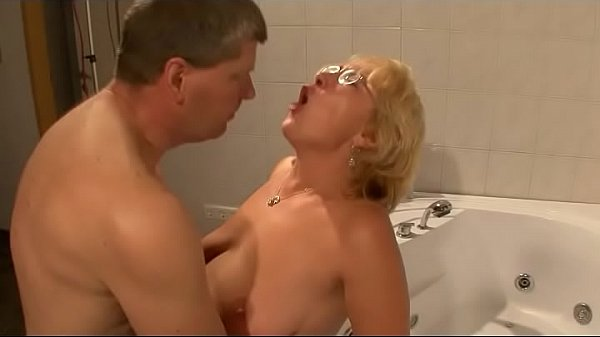 The horny fat old slut is banged in the bathroom