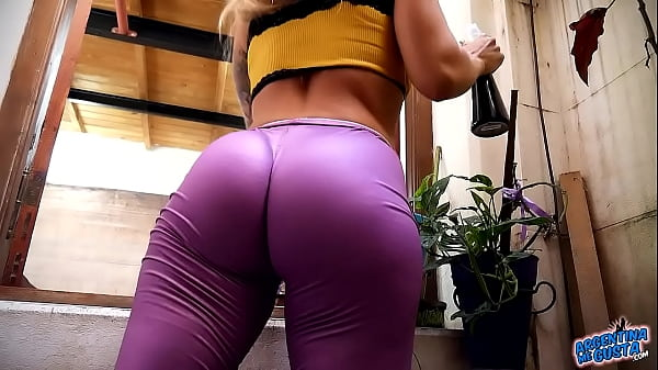 Incredible Big Round Hard Ass on Blonde Busty Babe Wearing Tight Spandex