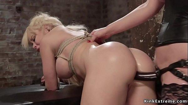 Busty blonde lesbian anal fucked lezdom