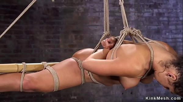 Suspended babe gets nipples clamped