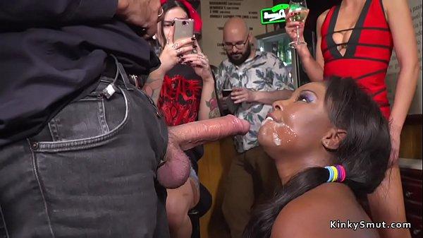Ebony bbw fucked and d. in public bar Thumb