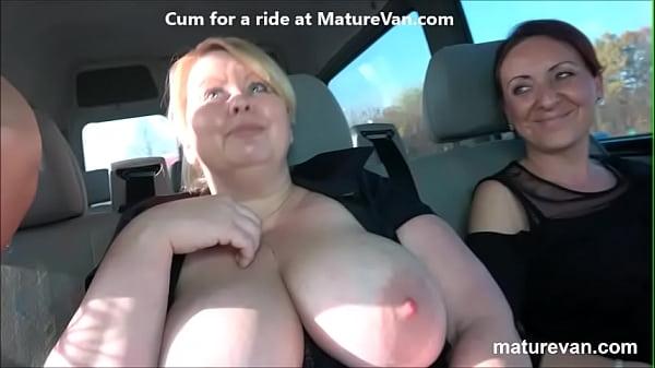 3 moms pick up young cock at MaturVan