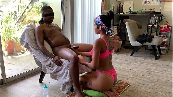 Maya Farrell blindfolds Richdapiper and stroke him until he bust a fat nut