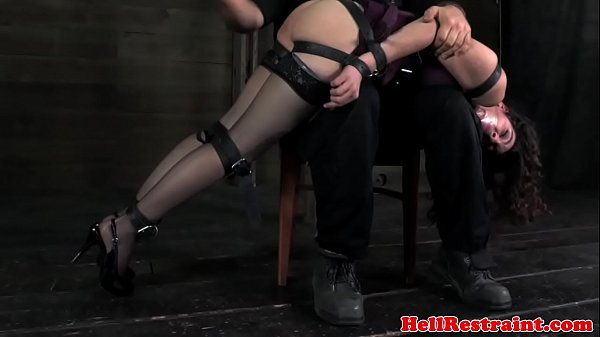Armbinded subs spanked over the knee  thumbnail